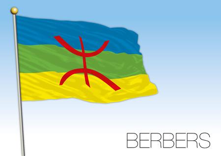 Berber population flag, North Africa, vector illustration