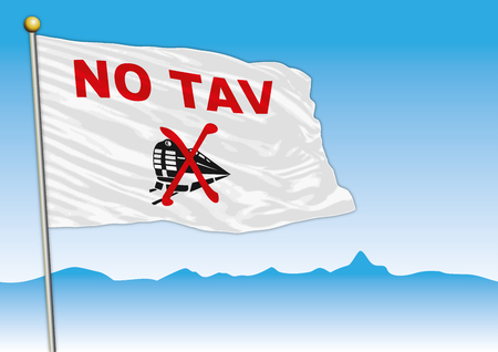 No Tav movement flag, Italy, vector illustration 矢量图像