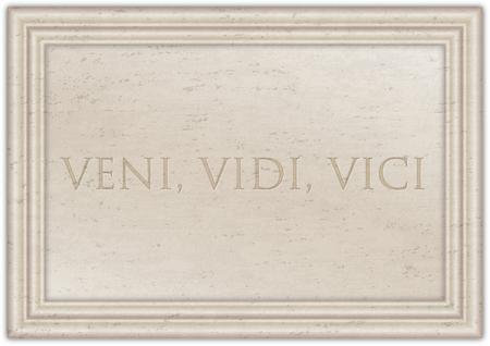 Veni Vidi Vici, latin phrase of Cesar emperator on the ancient marble plate