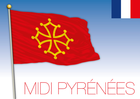 Midi Pyrenees regional flag, France, vector illustration Ilustrace