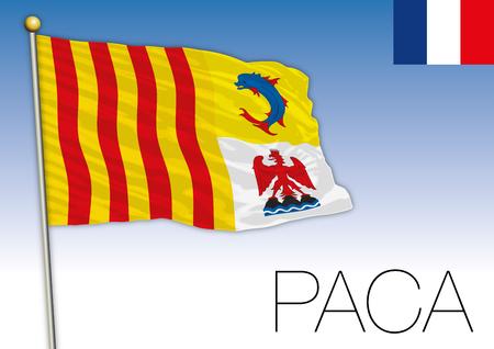 PACA regional flag, France, vector illustration