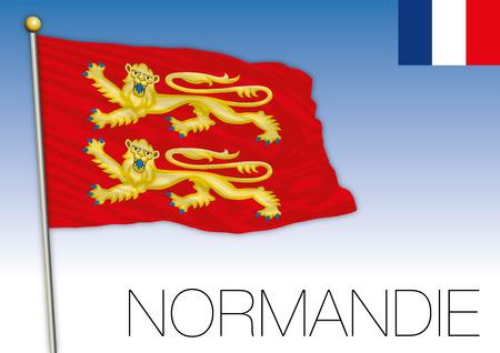Normandy regional flag, France, vector illustratio