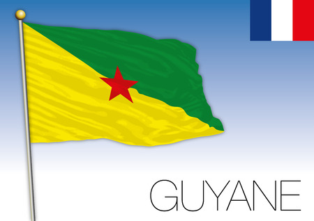 Guyane regional flag, France, vector illustration Çizim
