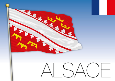 Alsace regional flag, France, vector illustration