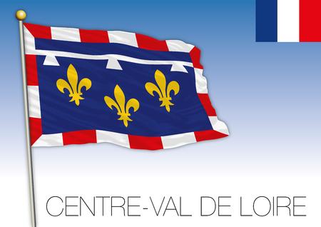 Center Val de Loire, regional flag, France, vector illustration