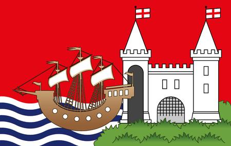 Bristol county flag, United Kingdom, vector illustration Illustration