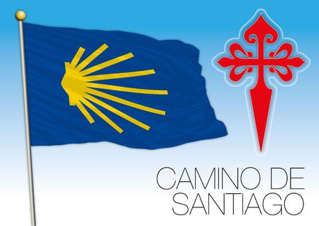 Camino de Santiago, flag and symbols, vector illustrator Illustration
