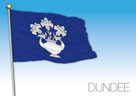 Dundee city local flag, United Kingdom, vector illustration