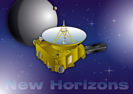 New Horizons interplanetary space probe, Pluto planet exploration on the space, solar system, vector illustration
