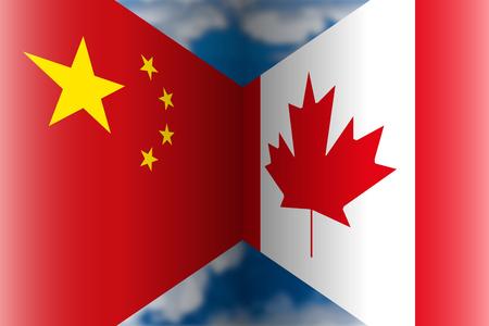 China VS Canada flags, vector illustration