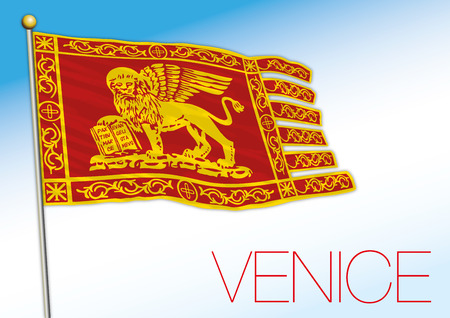 Venice city flag, Veneto, Italy, vector illustration