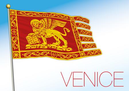Venice city flag, Veneto, Italy, vector illustration