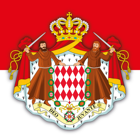 Monaco Principality coat of arms and flag, vector illustration