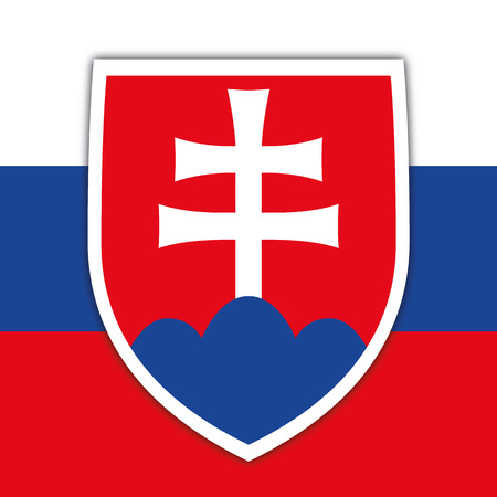 Slovakia Republic coat of arms and flag, vector illustration