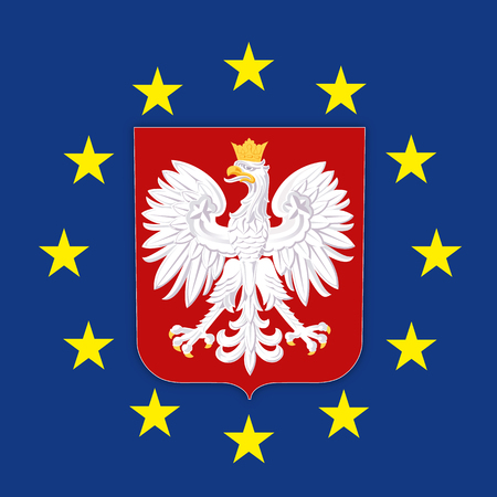 Poland coat of arms on the European Union flag, vector illustration
