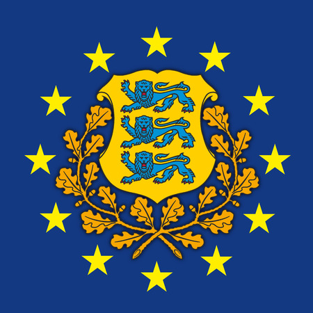 Estonia coat of arms on the European Union flag, vector illustration