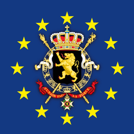 Belgium coat of arms on the European Union flag, vector illustration Foto de archivo - 119368815