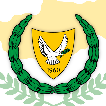 Cyprus official coat of arms on the Cyprus flag, vector illustration