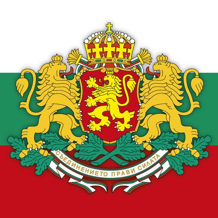 Bulgaria coat of arms on the Bulgarian flag, vector illustration