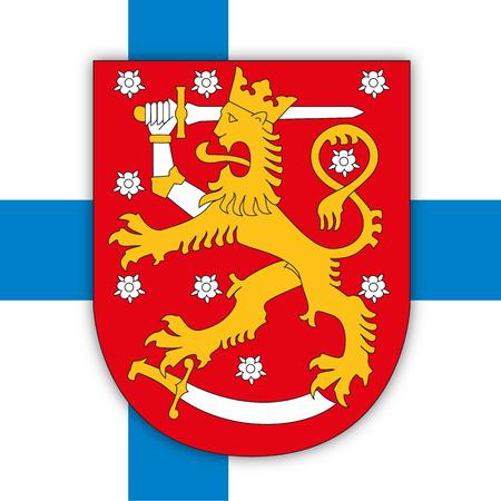 Finnish coat of arms on the national flag, Finland, vector illustration Vektorgrafik