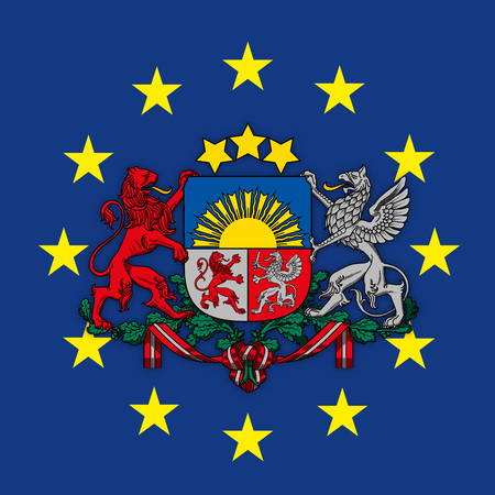 Latvia coat of arms on the European Union flag, vector illustration