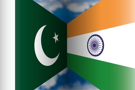 Pakistan VS India flags, vector illustration