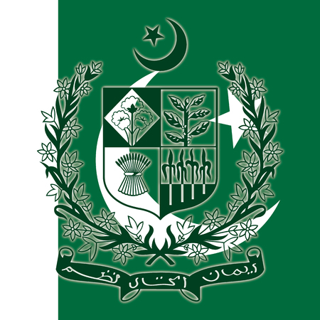 Pakistan coat of arms on the national flag, vector illustration