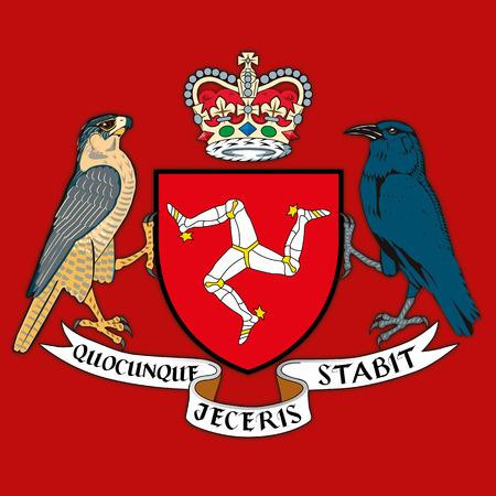 Armoiries de l'île de Man, illustration vectorielle
