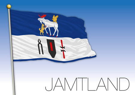 Jamtland regional flag, Sweden, vector illustration