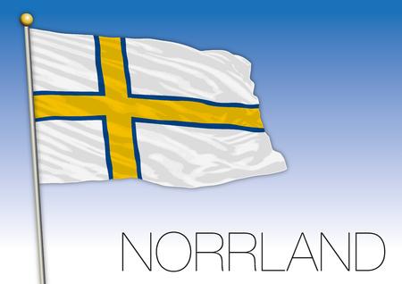 Norrland regional flag, Sweden, vector illustration