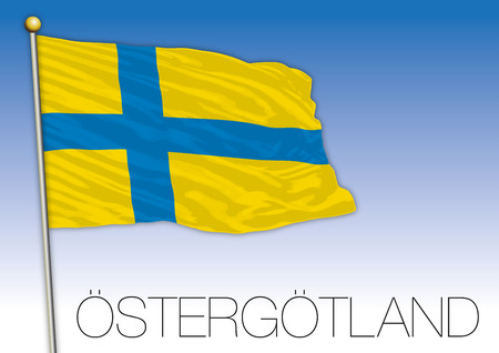 Ostergotland regional flag, Sweden, vector illustration