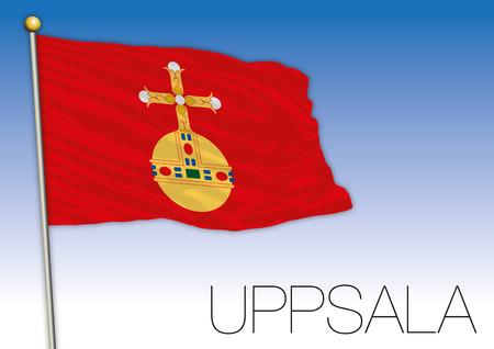 Uppsala regional flag, Sweden, vector illustration