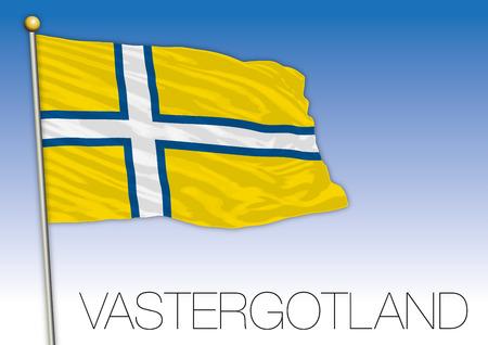 Vastergotland regional flag, Sweden, vector illustration
