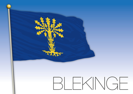 Blekinge regional flag, Sweden, vector illustration