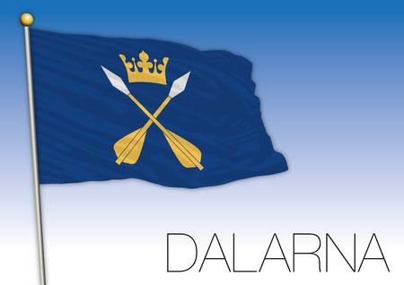 Dalarna regional flag, Sweden, vector illustration