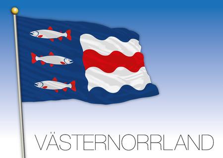 Vasternorrland regional flag, Sweden, vector illustration