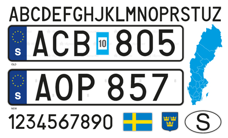 Sweden car license plate, letters, numbers and symbols
