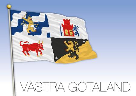 Vastyra Gotaland regional flag, Sweden, vector illustration