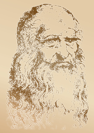 Leonardo Da Vinci portrait, graphic elaboration, vector illustration