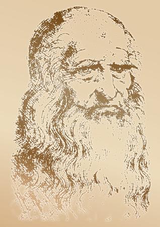 Leonardo Da Vinci portrait, graphic elaboration, vector illustration