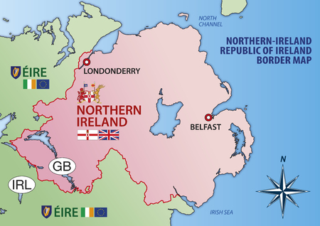 Northern Ireland and Eire map with border, flags and national symbols, vector illustration