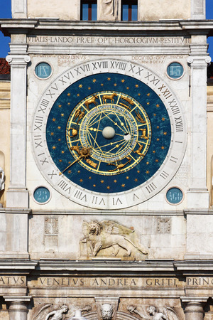 Padua, Italy, historical center, clock tower detail