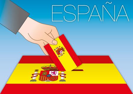 Spain, ballot box, flags and symbols, vector illustration