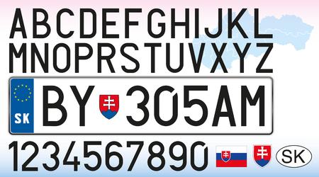 Slovakia car license plate, letters, numbers and symbols Векторная Иллюстрация