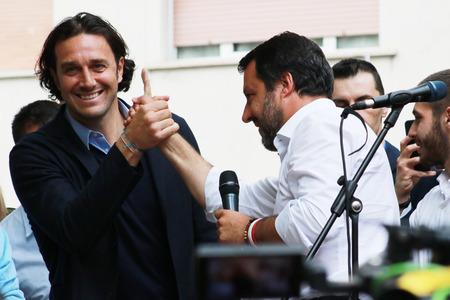 Matteo Salvini and Luca Toni, Modena - Italy, May 3, 2019: public politic conference Lega party