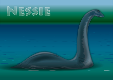 Nessie, monster of Lock Ness lake, vector illustration, Scotland Standard-Bild - 122450944