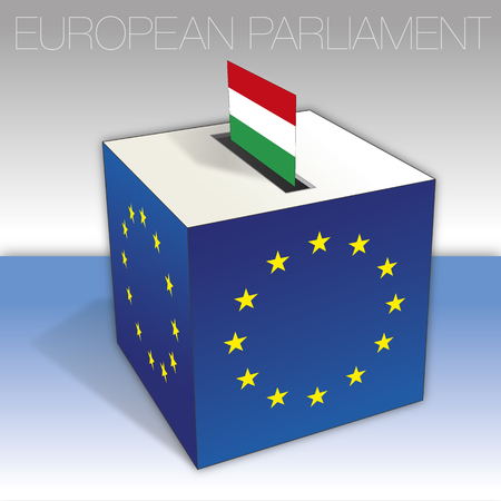 Hungary, European parliament elections, flag and voting box, vector illustration