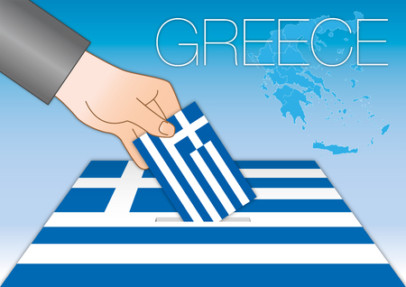 Greece, elections, voting box and greek flag with symbols, vector illustration Archivio Fotografico - 124603652