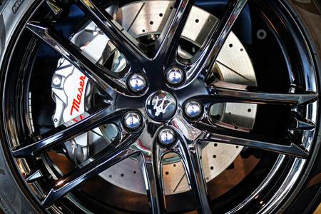 MODENA, ITALY, May 2019 - Motor Valley Fest exhibition, Maserati wheel design Archivio Fotografico - 124582461