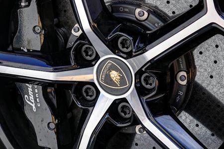 MODENA, ITALY, May 2019 - Motor Valley Fest exhibition, Lamborghini wheel design Archivio Fotografico - 124582468